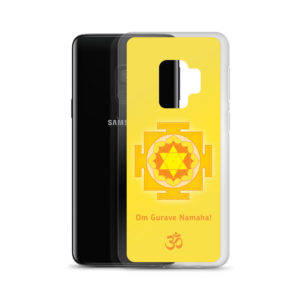 Samsung S9 phone cover with Guru mantra Om Gurave Namaha and yantra and Om symbol